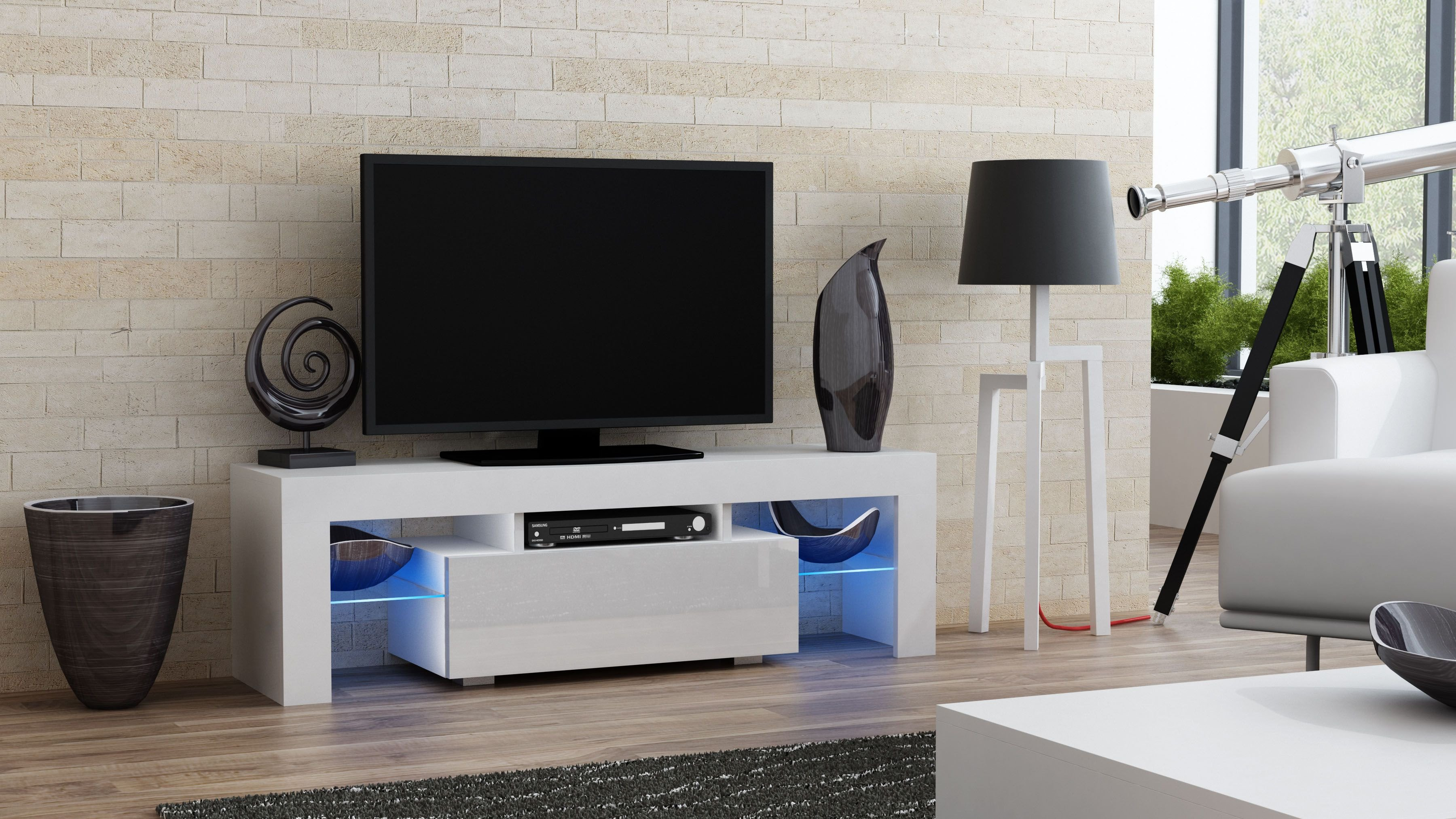 Tall Tv Stand for Bedroom Unique Milano 130 White Small Tv Stand