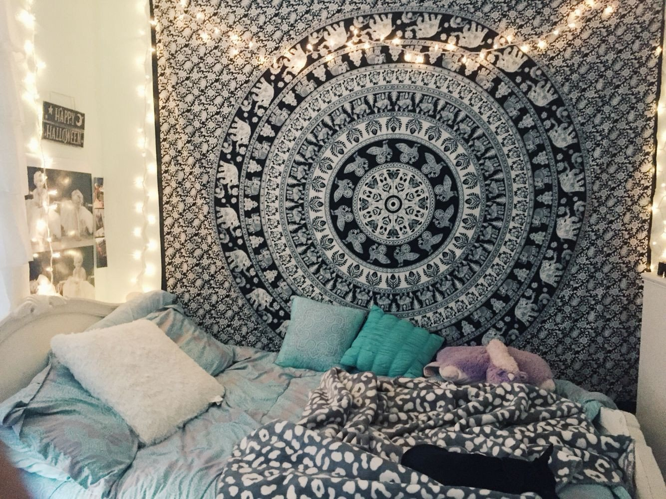 Teal and Black Bedroom Ideas Best Of Tumblr Bedroom Inspiration Lights Tapestry Pillows