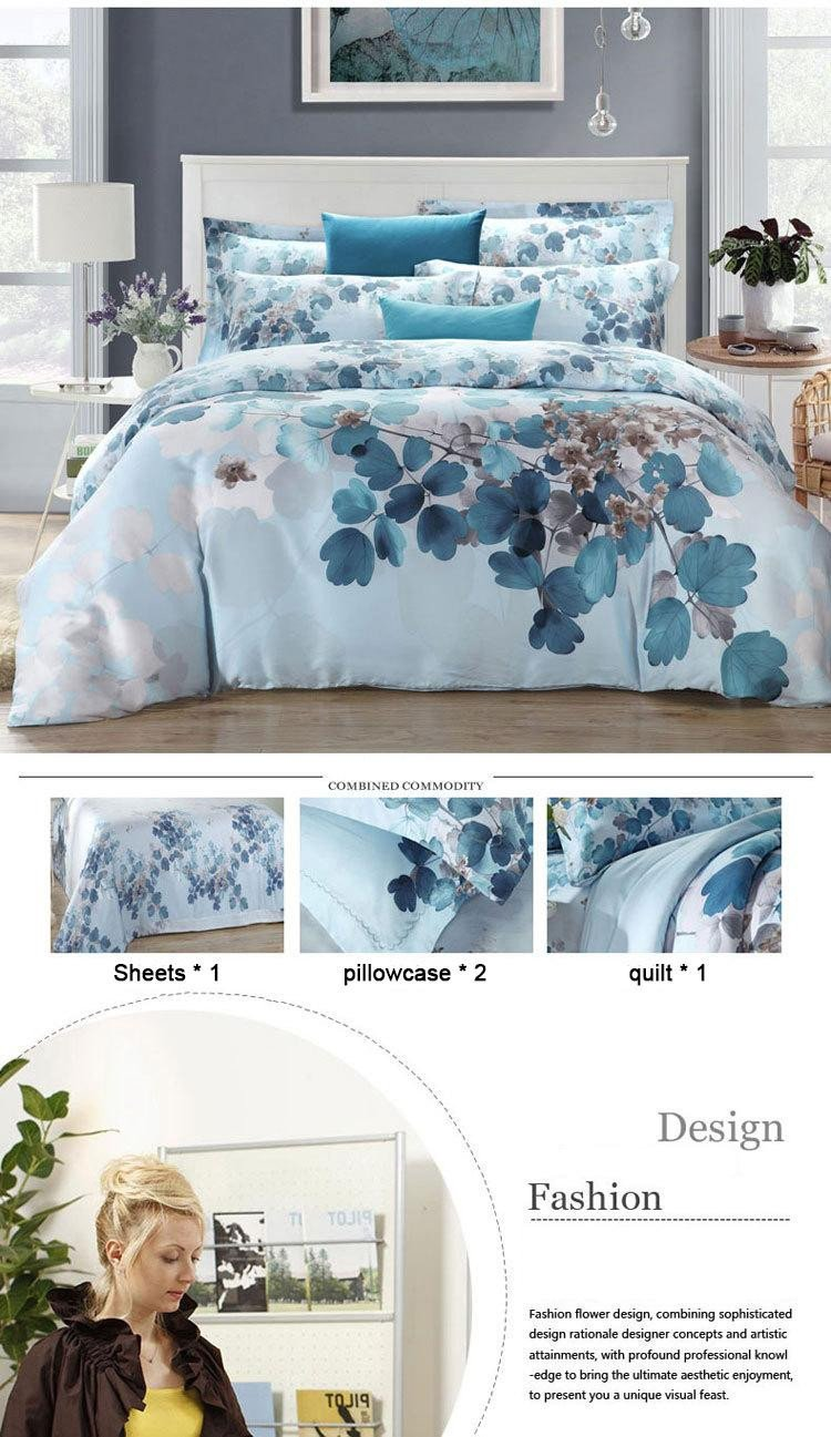 Teal and Gray Bedroom New Beautiful Spring Flowers Elegant Tencel Bed Four Sets soft and Smooth High End High Quality Bedroome Bedding Grey and White Duvet Cover Gray and Blue