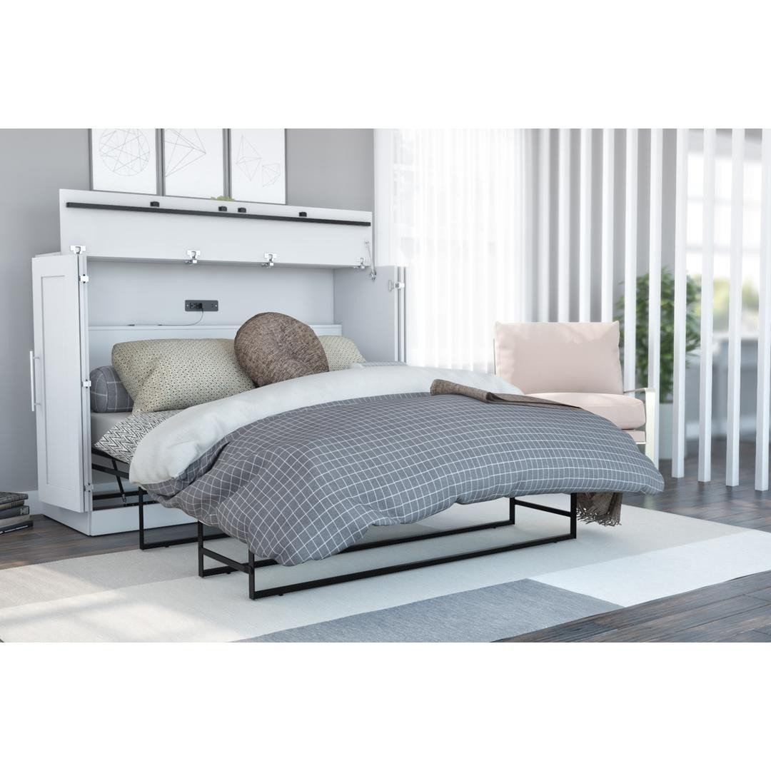 Teal and Gray Bedroom Unique Pur Full Cabinet Bed with Mattress