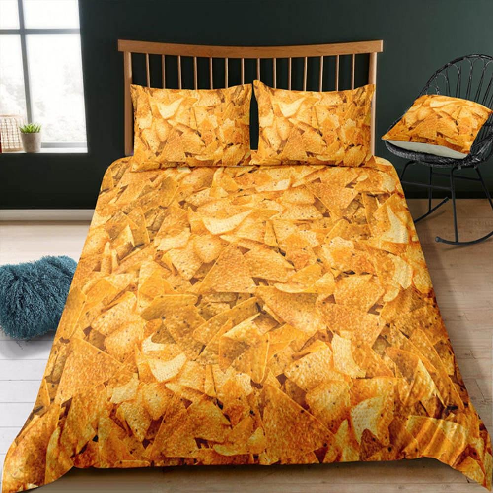 Teen Girl Bedroom Set Fresh Queen Size Bedding Set Hot Selling Chips Print Duvet Cover Food Series King Twin Double Single Full Bed Cover with Pillowcase Yellow Bedding Teen Girl