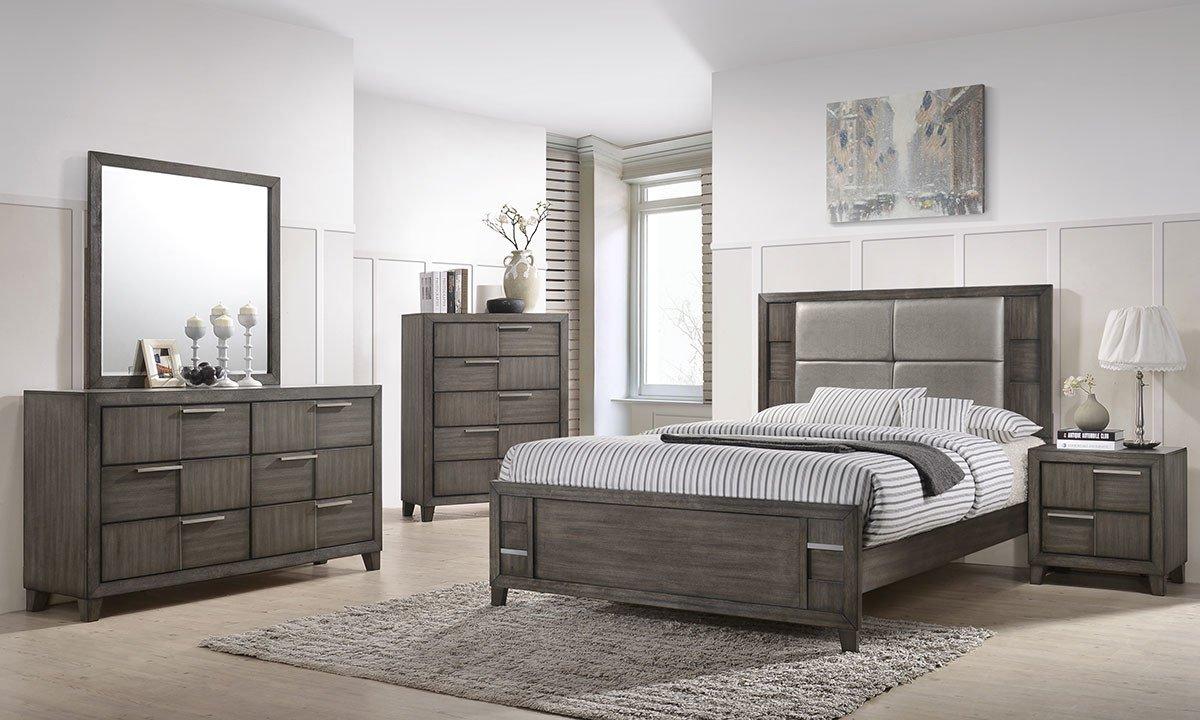 denton 5 piece queen bedroom set grey 1200
