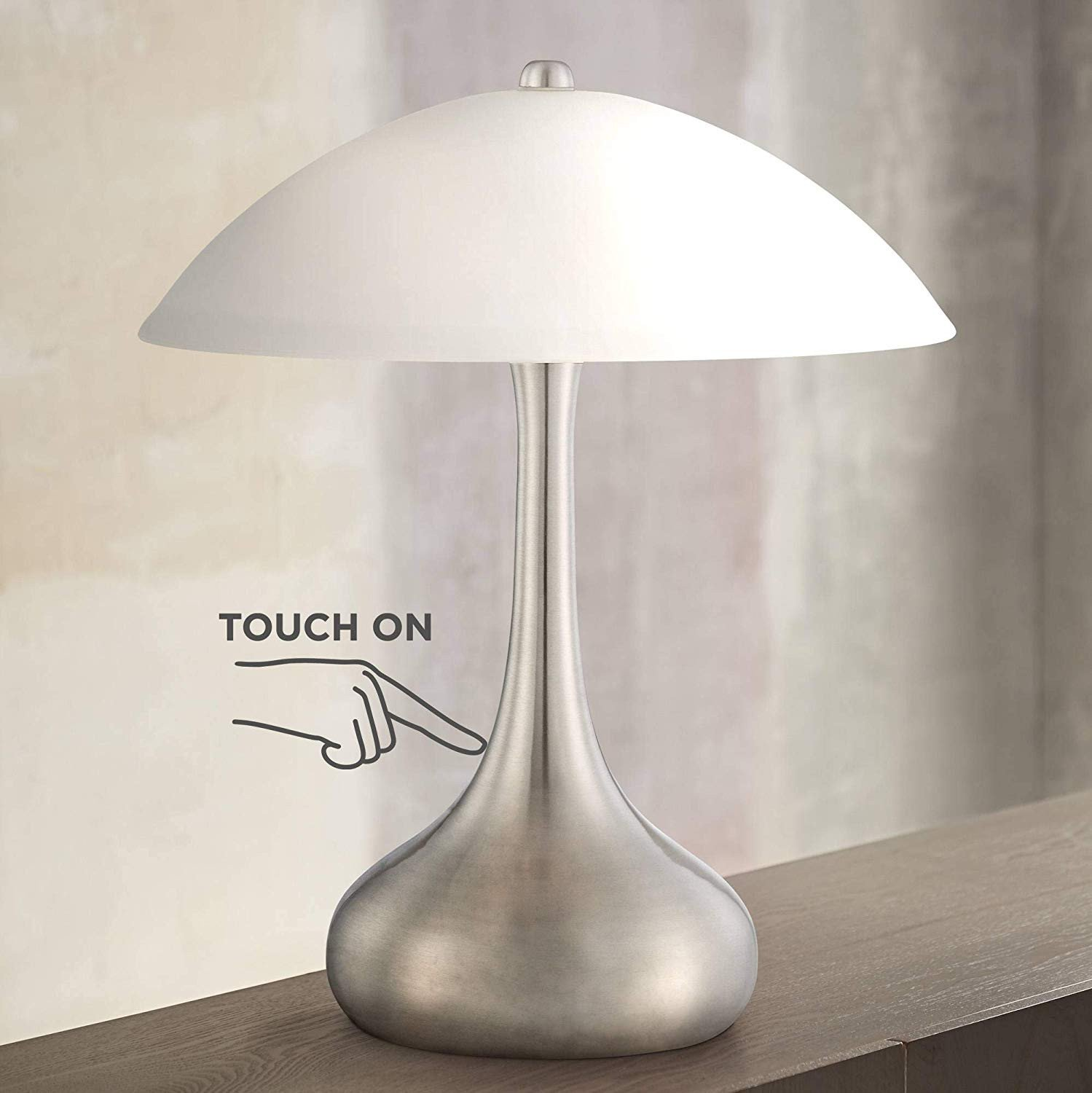 """Touch Table Lamps Bedroom Beautiful Lagro Modern Accent Table Lamp 16"""" High Brushed Steel Droplet White Glass Shade touch F for Bedroom Bedside Nightstand 360 Lighting"""
