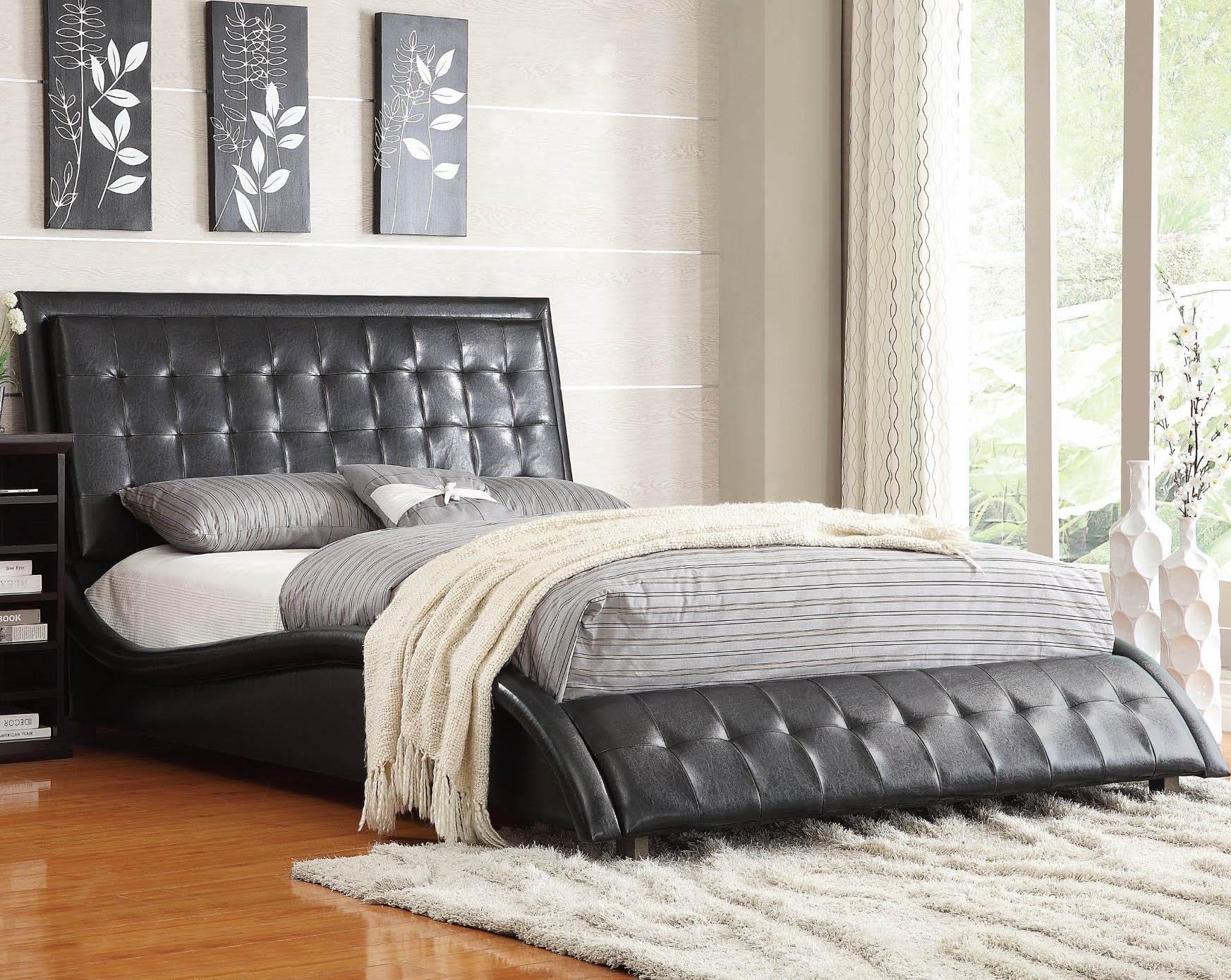 Tufted Headboard Bedroom Set Luxury Tully Black Upholstered Bed