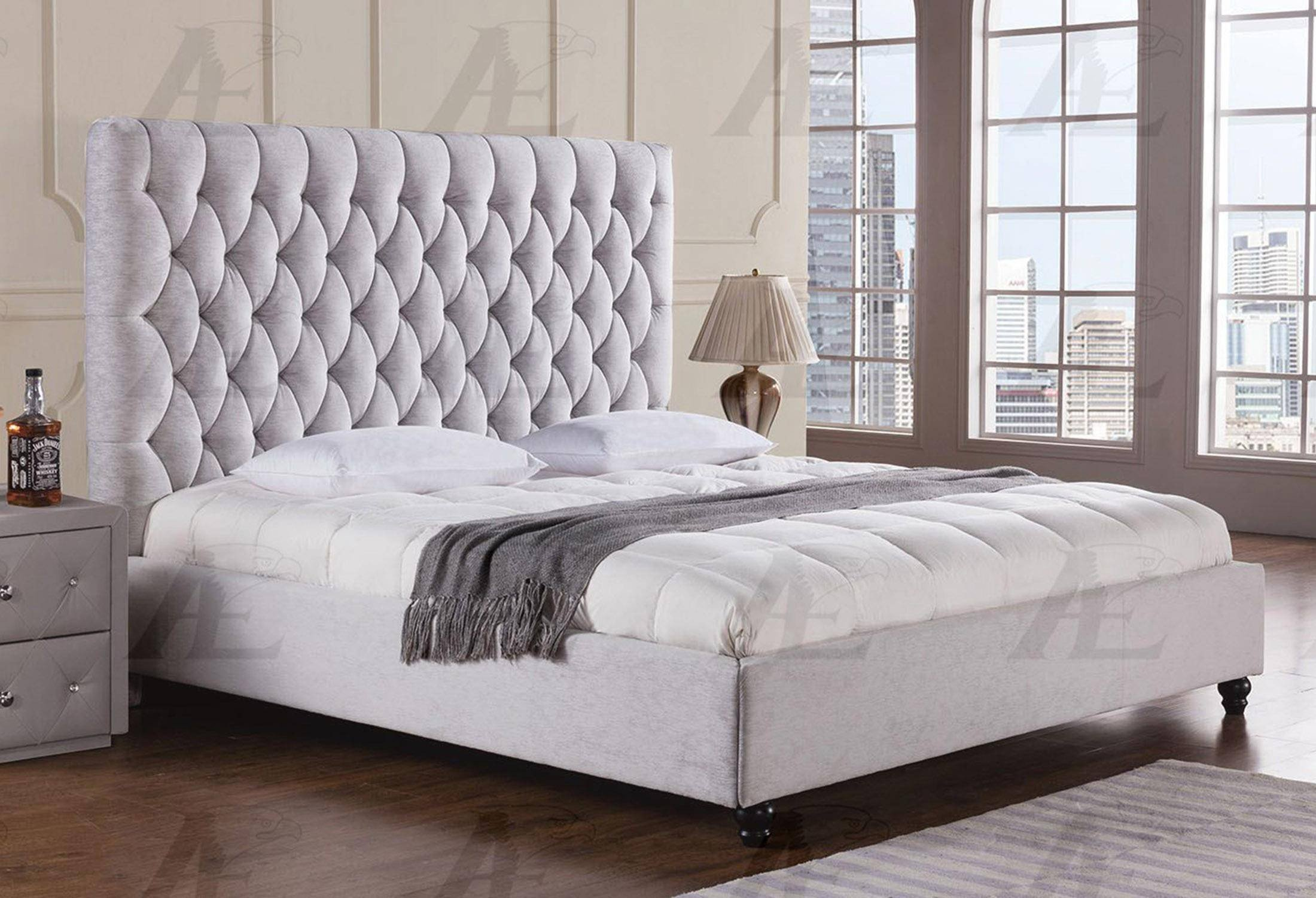 Tufted Headboard Bedroom Set Unique American Eagle Furniture B D060 Light Gray Queen Size Bed