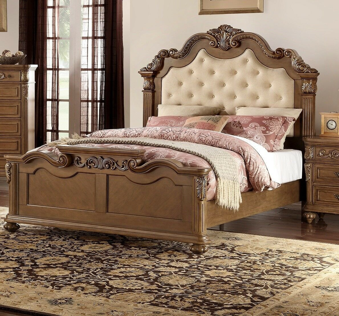 Tufted King Bedroom Set Elegant Bedroom Furniture 1pc Cal King Size Bed Medium Brown Tufted Hb Faux Leather