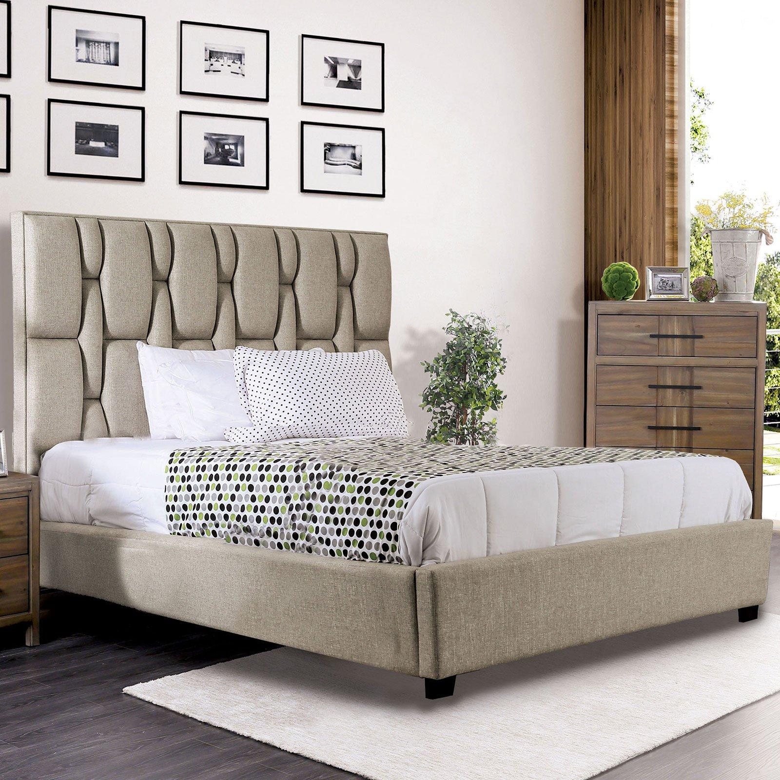 Tufted King Bedroom Set Elegant Furniture Of America Deirdre California King Upholstered Bed In Beige