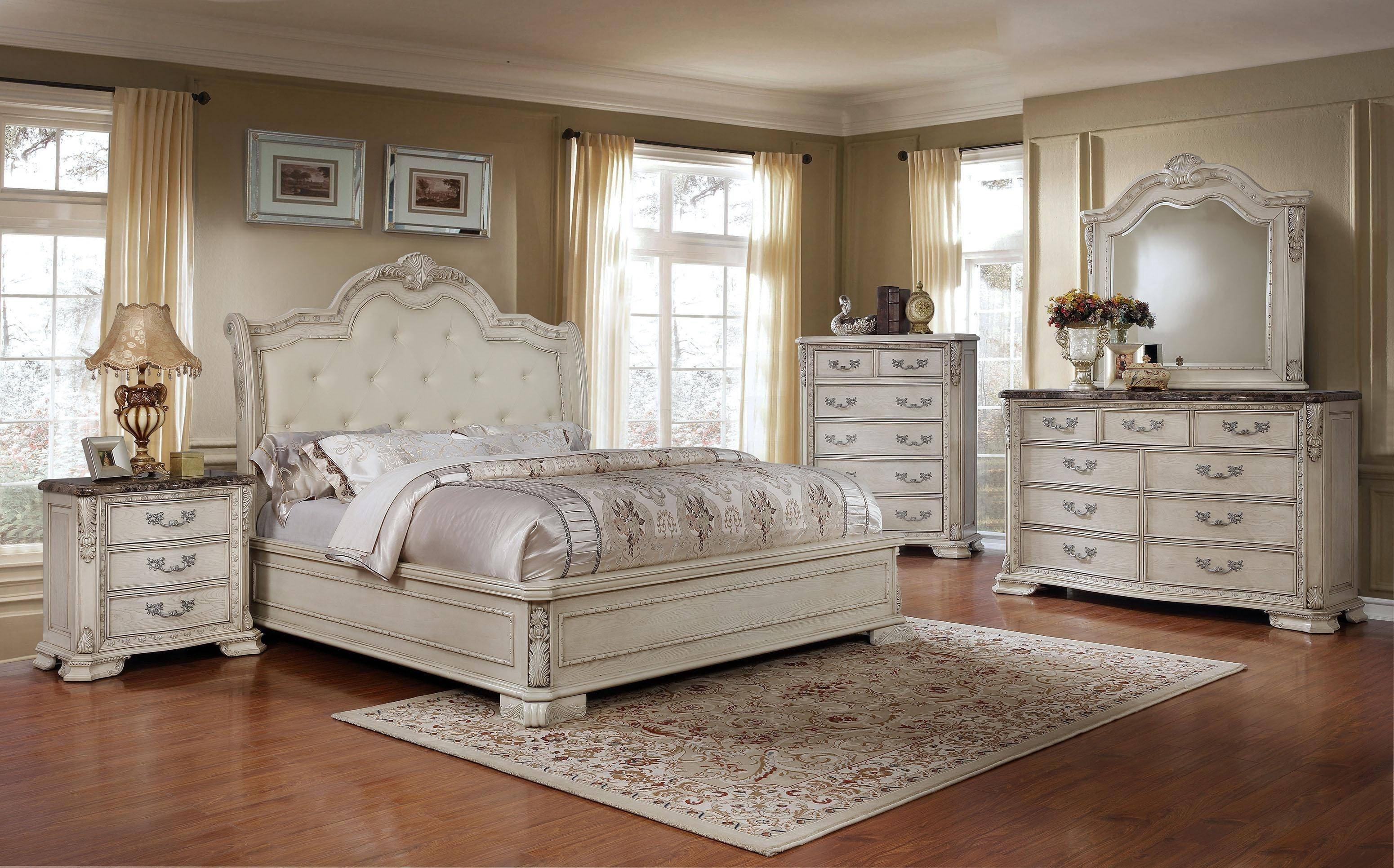 Tufted King Bedroom Set Luxury Mcferran B1000 Antique White Tufted King Size Bedroom Set