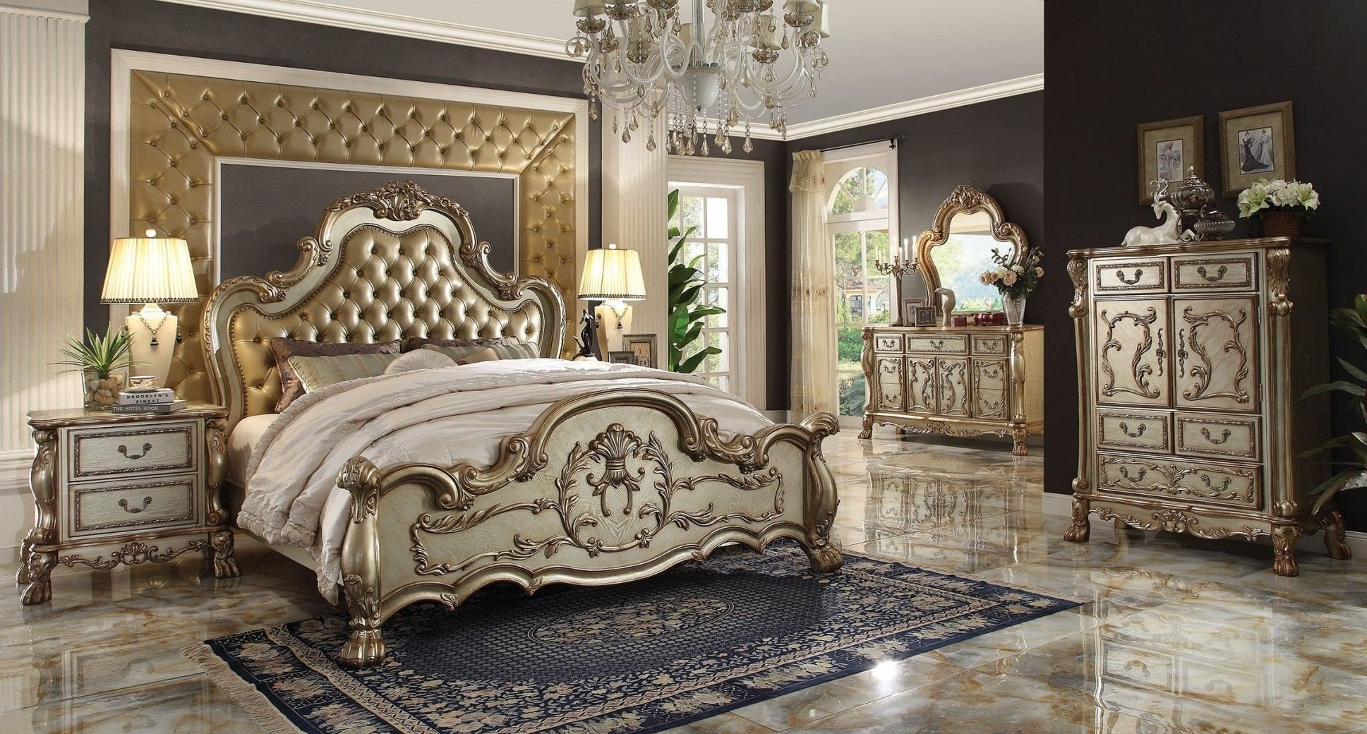 Tufted King Bedroom Set New Acme Dresden Wood Pu Tufted Panel Bedroom Set