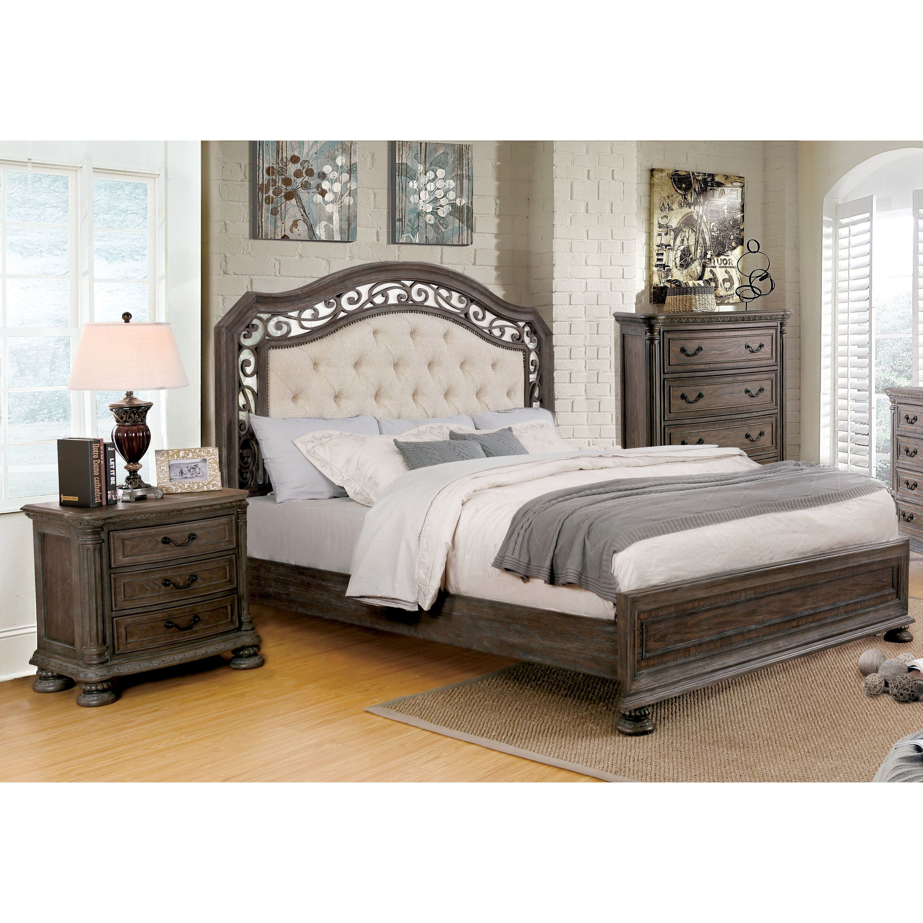 Tufted King Bedroom Set Unique Furniture Of America Brez Traditional Brown 3 Piece Bedroom