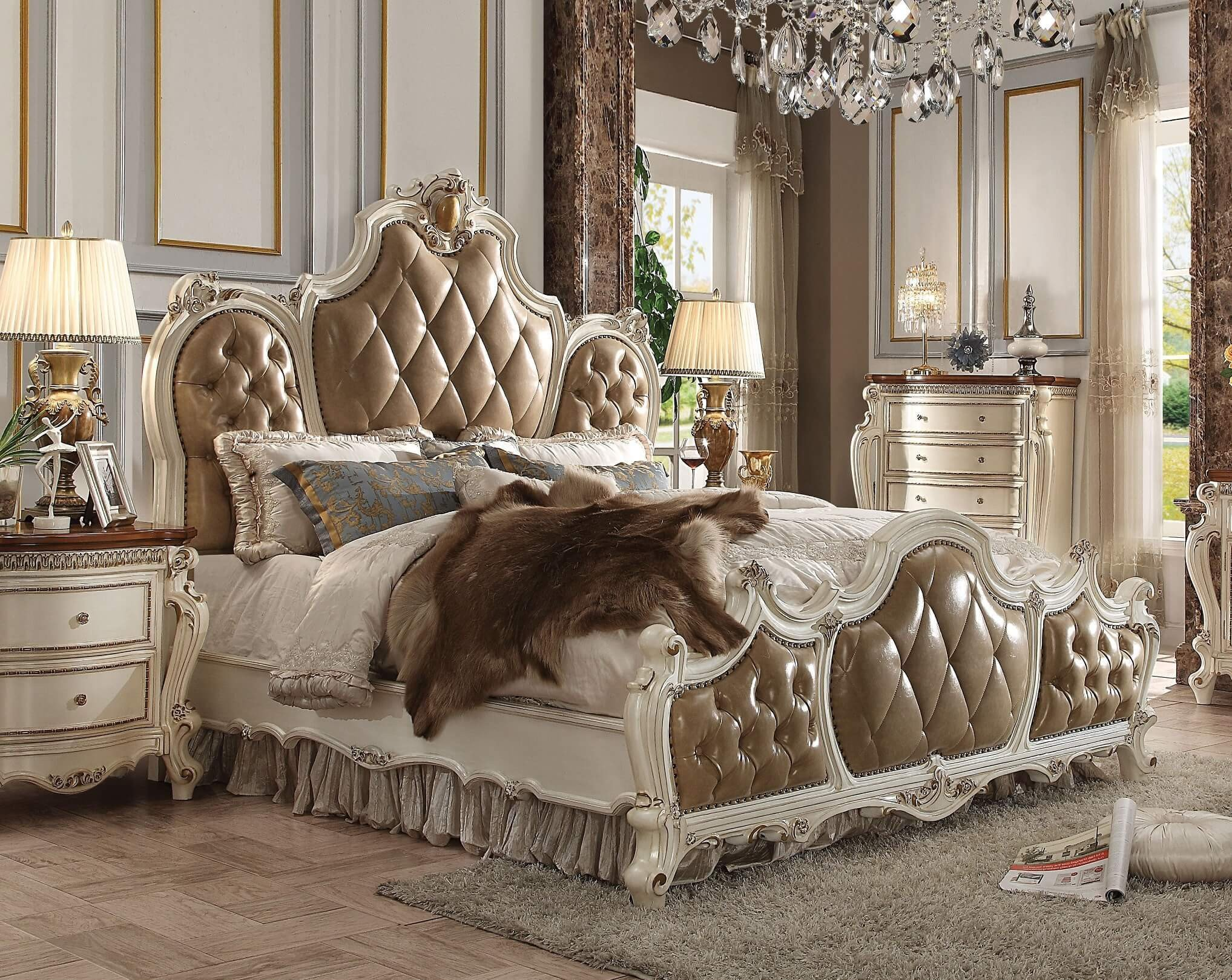 Tufted Queen Bedroom Set Luxury Picardy Leather Upholstered Bed Acme Q