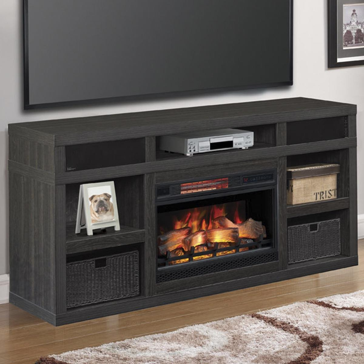 "Tv Media Chest Bedroom Lovely Fabio Flames Greatlin 64"" Tv Stand In Black Walnut"