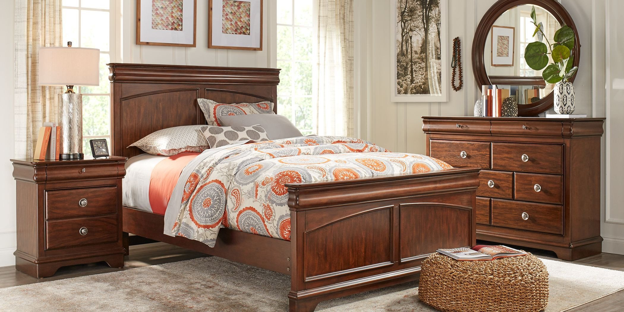 Twin Bed Bedroom Set Luxury Kids Oberon Cherry 5 Pc Twin Panel Bedroom In 2019