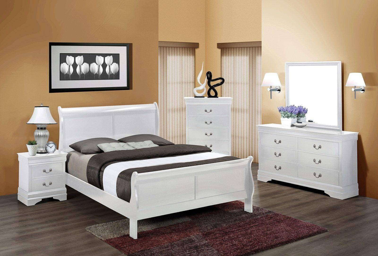Twin Bedroom Set for Sale New Crown Mark B3600 Louis Philip Contemporary White Finish Twin