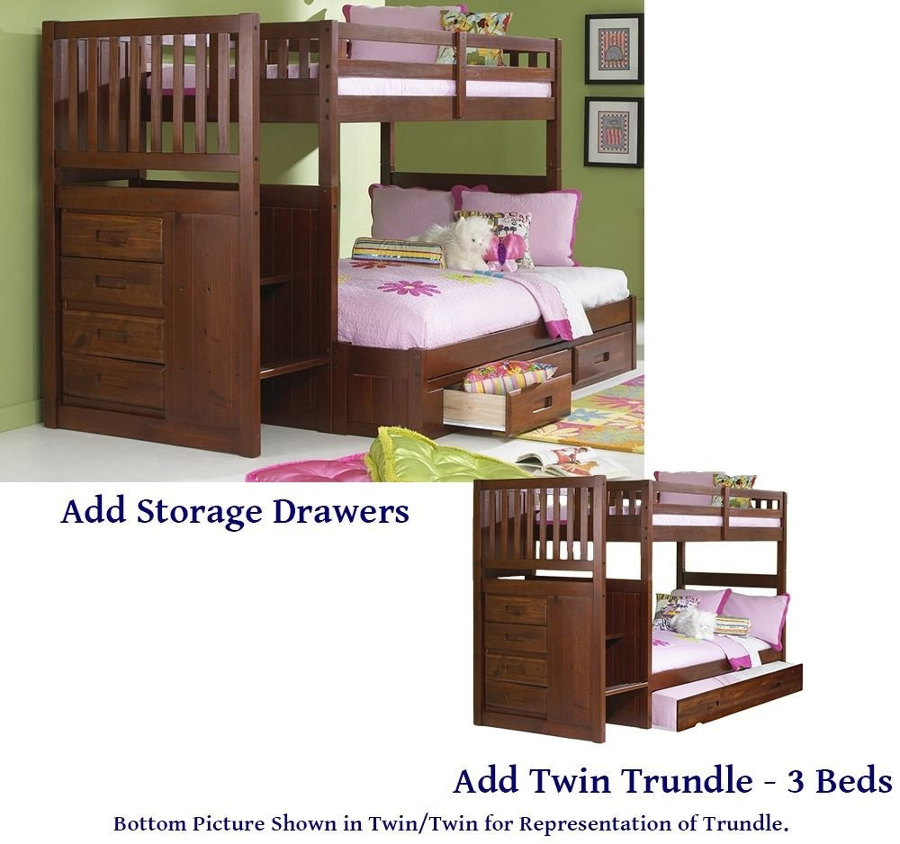 Twin Trundle Bedroom Set Awesome Stair Step Mission Bunk Bed Twin Full Donco Kids