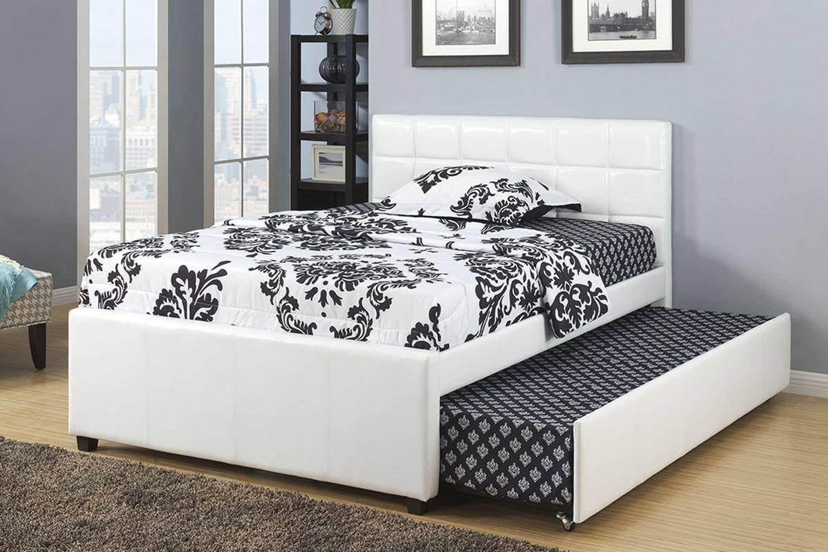 Twin Trundle Bedroom Set Beautiful White Faux Leather Full Size Bed W Trundle F9216 Poundex Modern