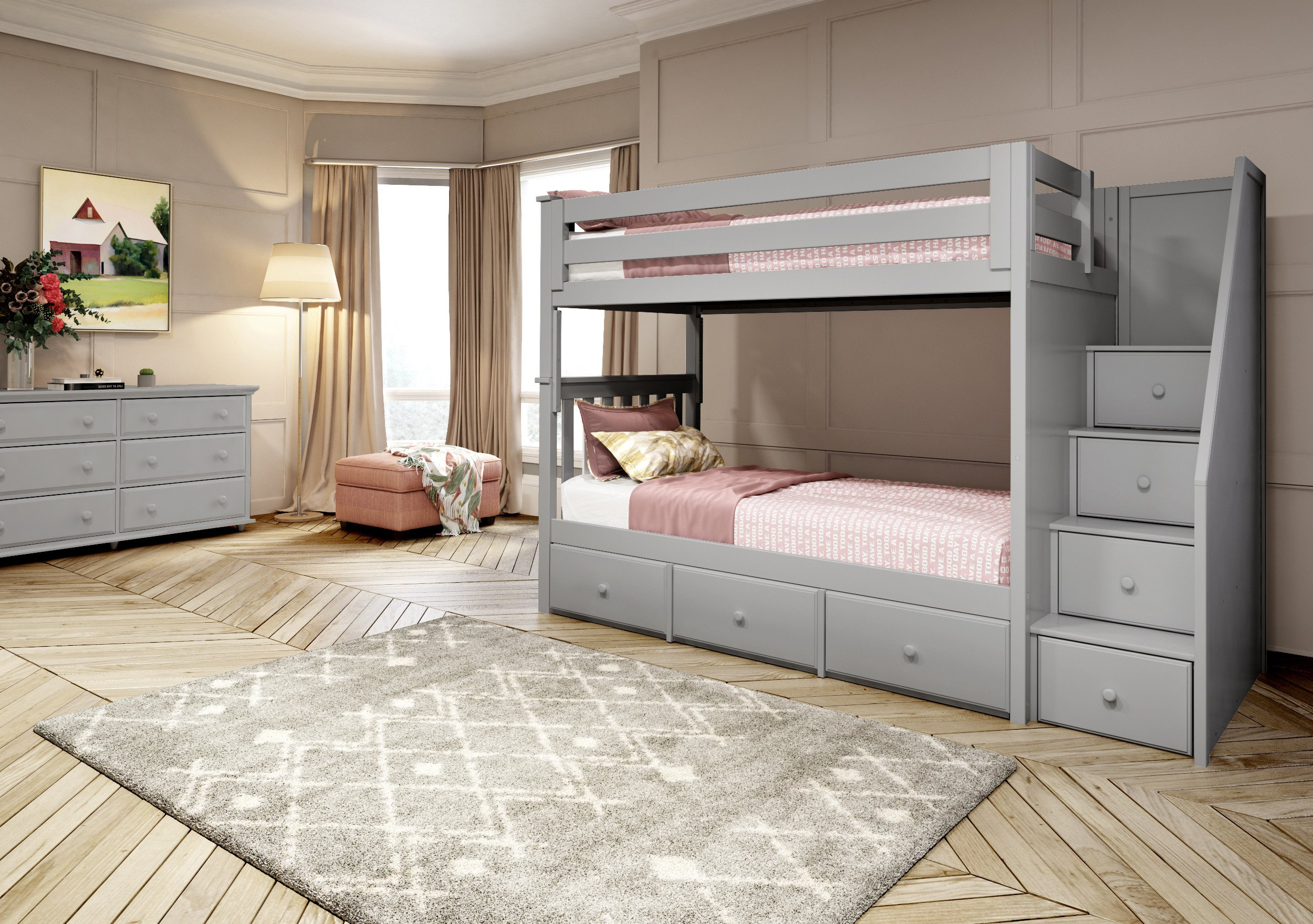 Twin Trundle Bedroom Set Elegant Twin Twin Staircase Bunk with Under Bed Drawers Grey