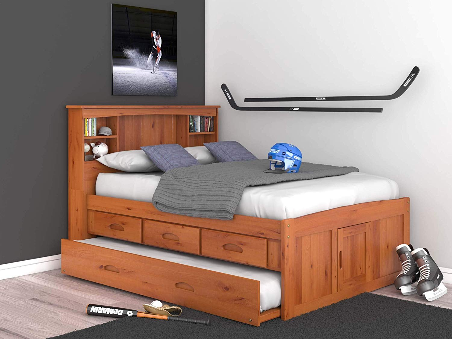 Twin Trundle Bedroom Set Inspirational Discovery World Furniture Full Captains Bed Bookcase with 3 Drawers and Trundle Desk Hutch and Chair In Honey Finish