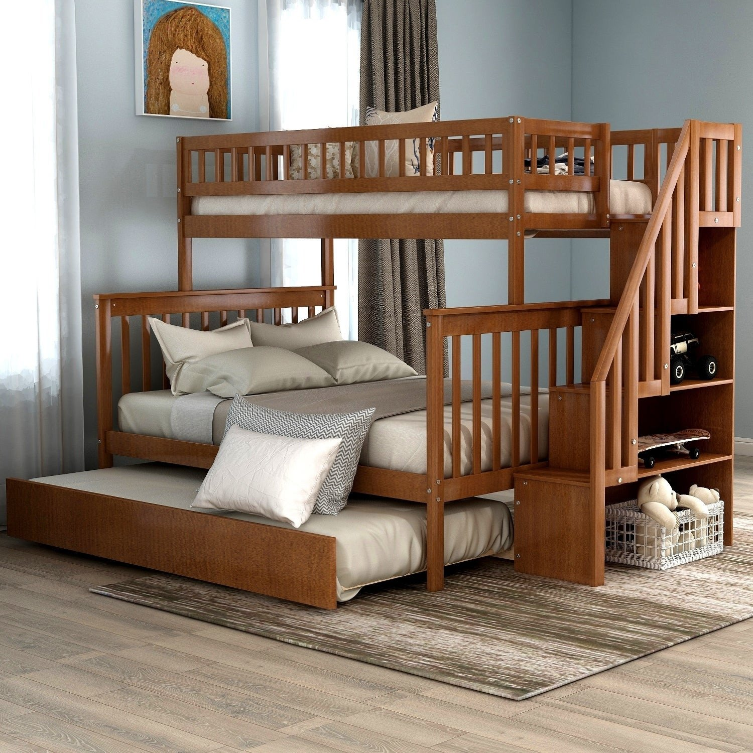 Twin Trundle Bedroom Set Inspirational Taylor & Olive Freesia Twin Over Full Stairway Bunk Bed with Trundle