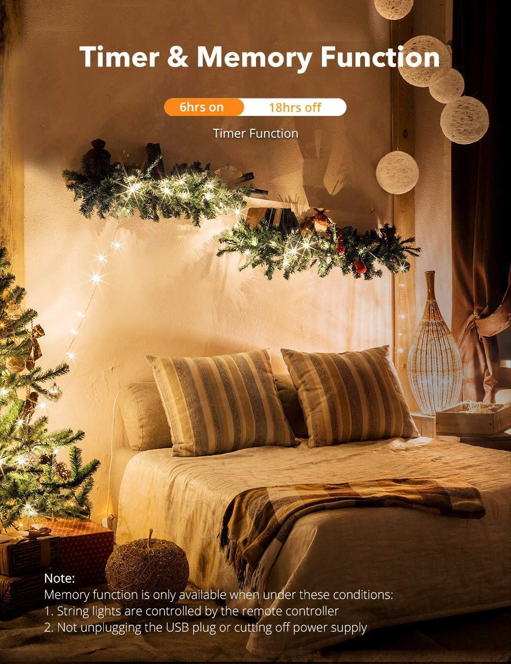 Twinkling Light for Bedroom New Taotronics Led String Lights 33ft 100 Leds Usb Powered Warm White Dimmable Copper Wire String Lights 8 Lighting Modes 15 Brightness Levels Remote
