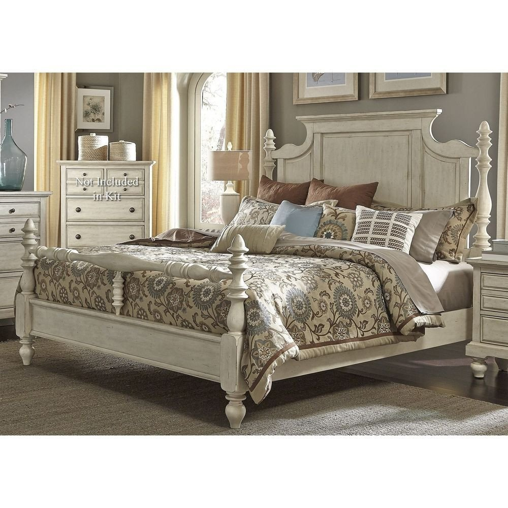 Used Queen Bedroom Set Luxury Farmhouse King Size Country Pine solid Wood White 4 Poster