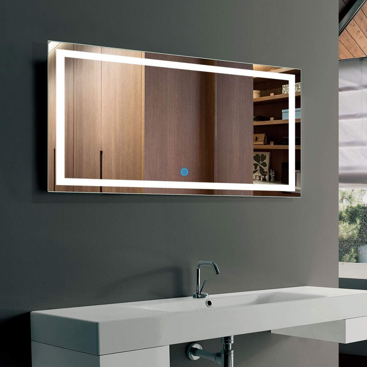 Vanity Mirror with Light for Bedroom Awesome 40 X 24 In Horizontal Led Bathroom Silvered Mirror with touch button Ck010 G