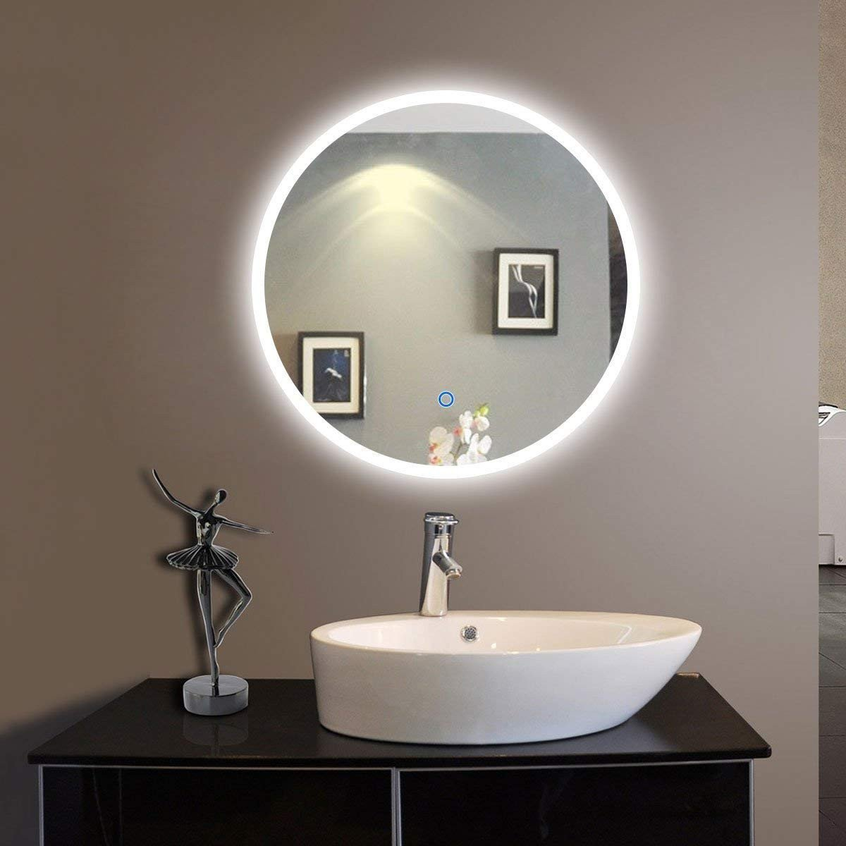 Vanity Mirror with Light for Bedroom Beautiful 24 X 24 In Round Led Bathroom Silvered Mirror with touch button C Cl065 1