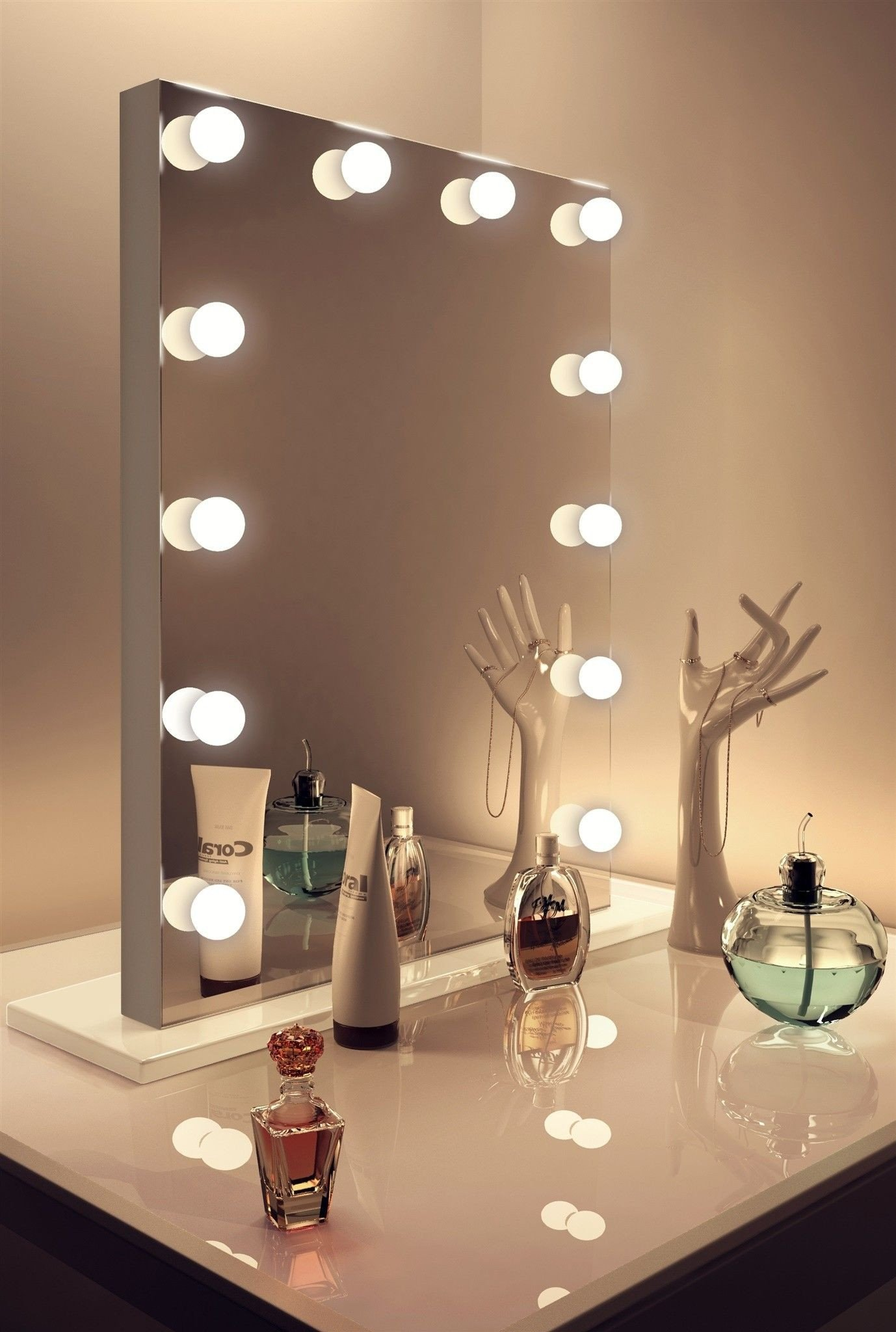 Vanity Mirror with Light for Bedroom Beautiful Catalonia Silver Edge Mirror Medium