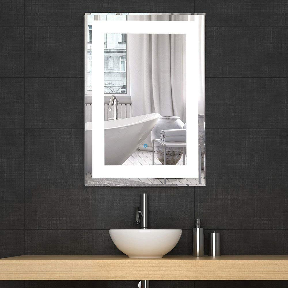 "Vanity Mirror with Light for Bedroom Luxury Decoraport Vertical Rectangle Led Bathroom Mirror Illuminated Lighted Vanity Wall Mounted Mirror 24"" 32"" Yj 2268h"