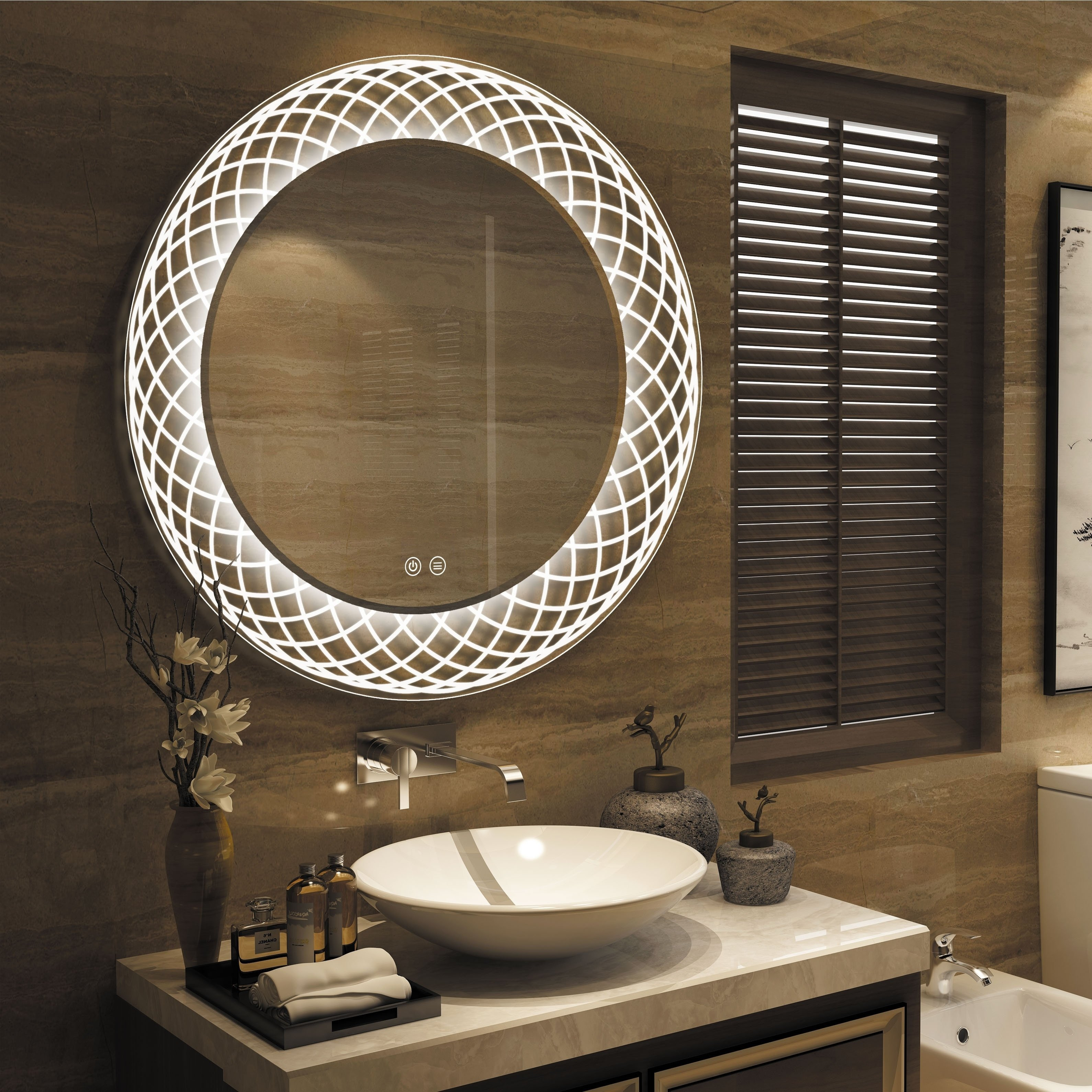 Vanity Mirror with Light for Bedroom Unique Frameless Wall Mounted Led Bathroom Mirror White