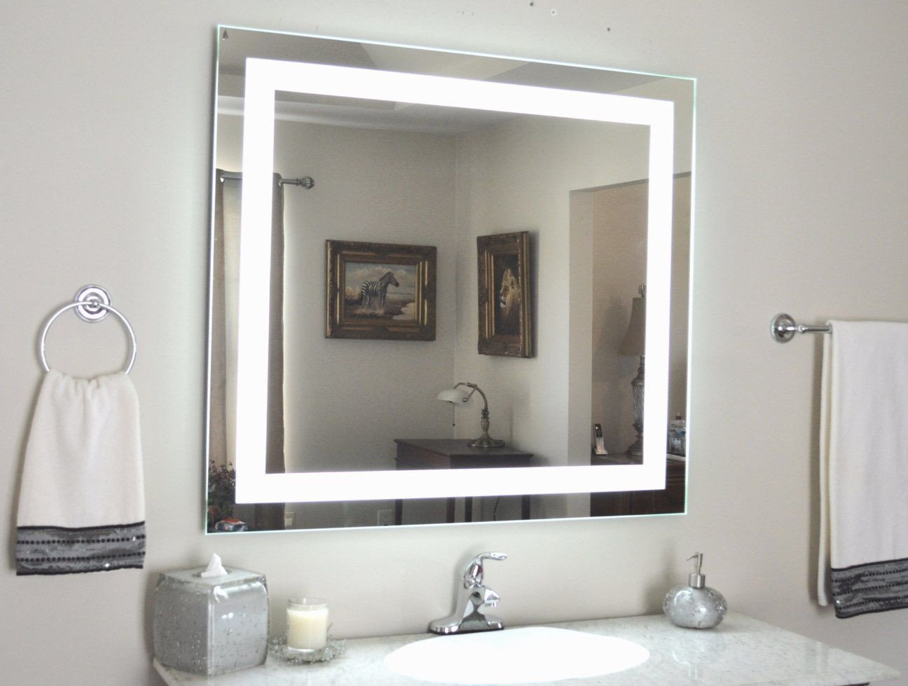 "Vanity Mirror with Light for Bedroom Unique Front Lighted Led Bathroom Vanity Mirror 44"" Wide X 36"