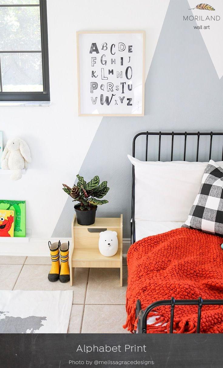 Wall Decoration for Girls Bedroom Elegant Black & White Vertical Alphabet Print Printable Art