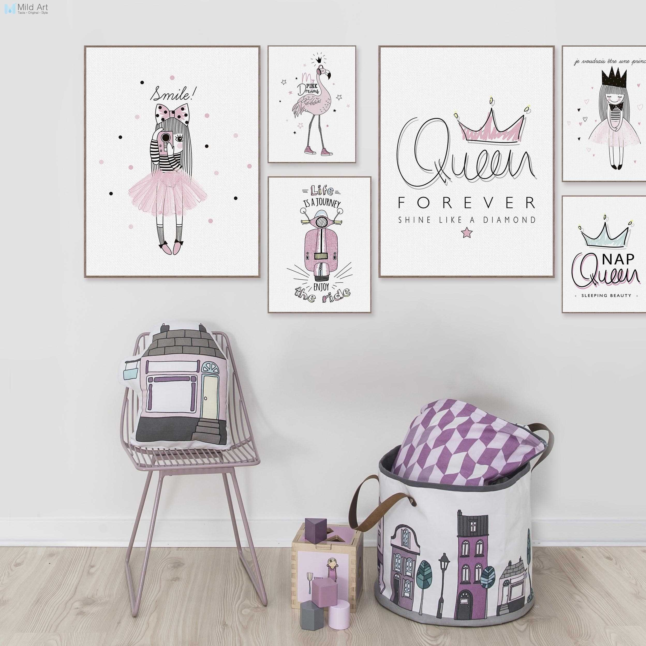 Wall Decoration for Girls Bedroom Luxury Pink Princess Queen Flamingo Typography Quotes Posters and Prints nordic Girls Room Wall Art Home Decor Canvas Painting
