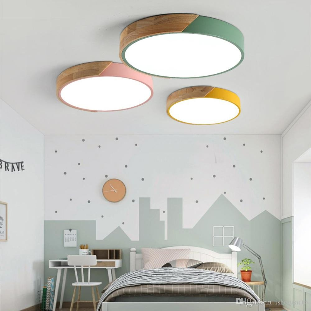 Wall Light for Bedroom Luxury 2019 nordic Wood Led Ceiling Lights Modern Colorful Ceiling Lamps Round Ultra Thin Plafond Lamp Bedroom Ceiling Light Fixture Rnb73 From ishopcauto