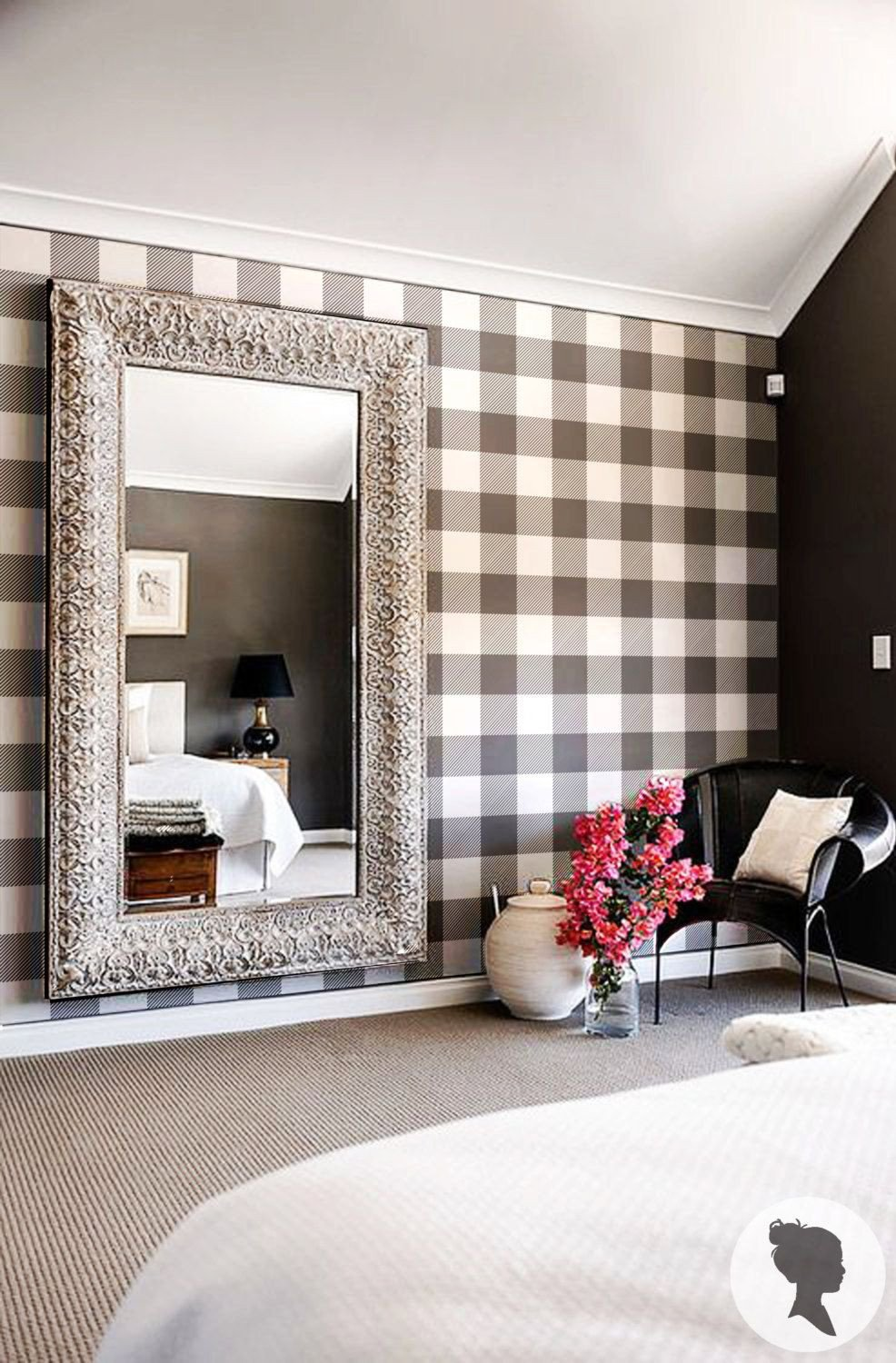 Wall Mirror for Bedroom Fresh Gingham Removable Wallpaper Buffalo Check Plaid Self
