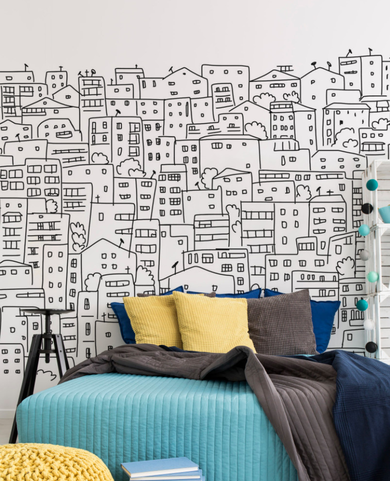 Wall Mural Ideas for Bedroom Beautiful Black and White City Sketch Mural In 2020