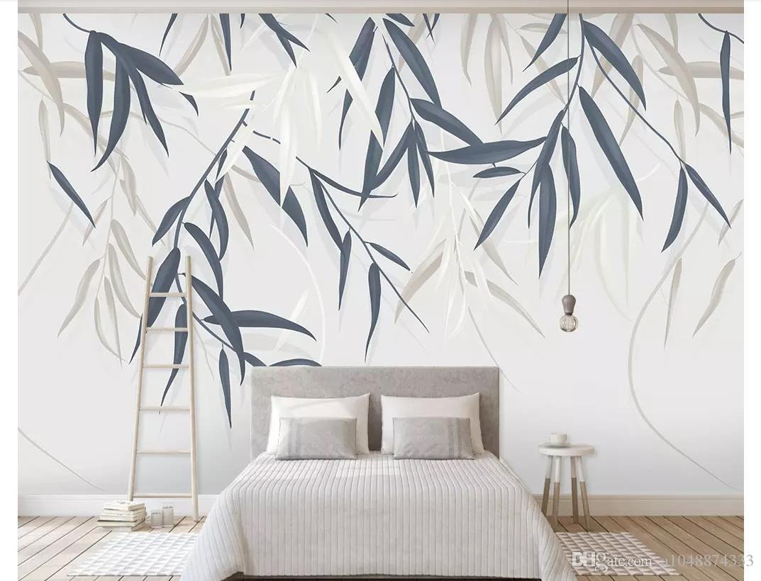Wall Murals for Bedroom New 3d Wall Murals Wallpaper Custom Picture Mural Wall Paper Minimalistic Hand Drawn Vintage Leaf Plant Flower Tv Background Wall Home Decor Wallpaper Hd