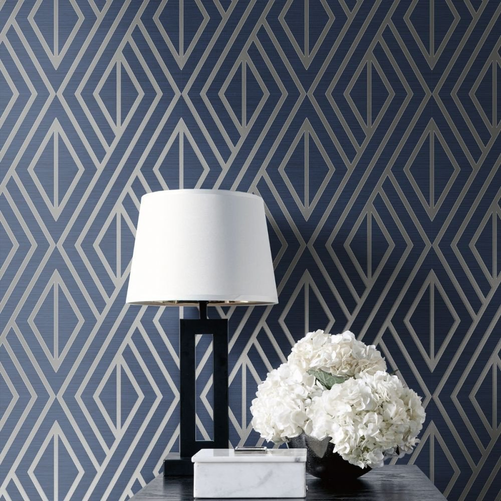 Wall Paper Design for Bedroom Beautiful Geometric Wallpaper Blue and Silver Pear Tree Uk In