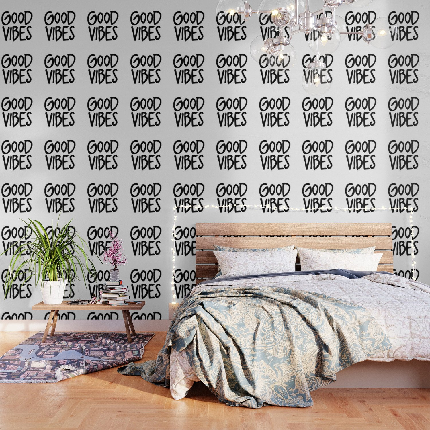 Wallpaper Accent Wall Bedroom Lovely Good Vibes Wallpaper