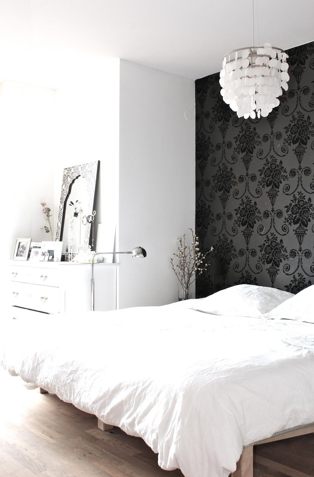 Wallpaper Accent Wall Bedroom Luxury My Scandinavian Home My Black and White Bedroom