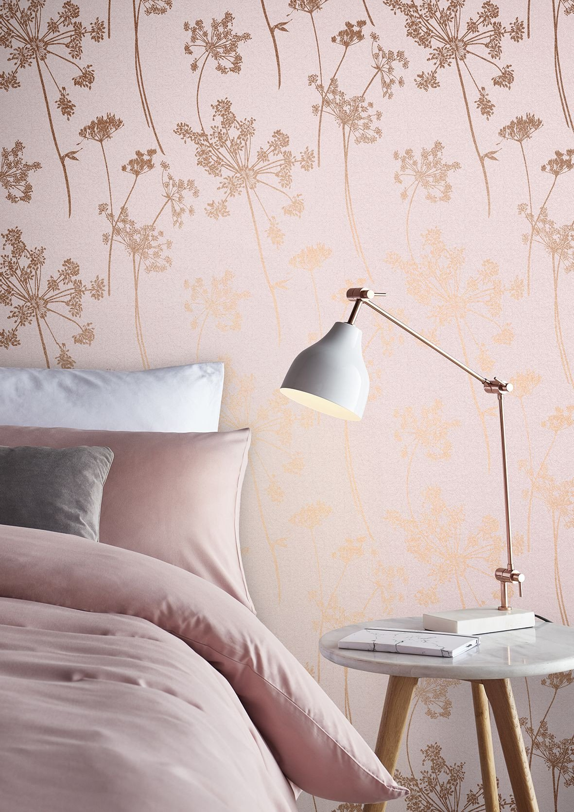 Wallpaper Borders for Bedroom Awesome Taking A Millennial Pink Palette and Adding Delicate Rose