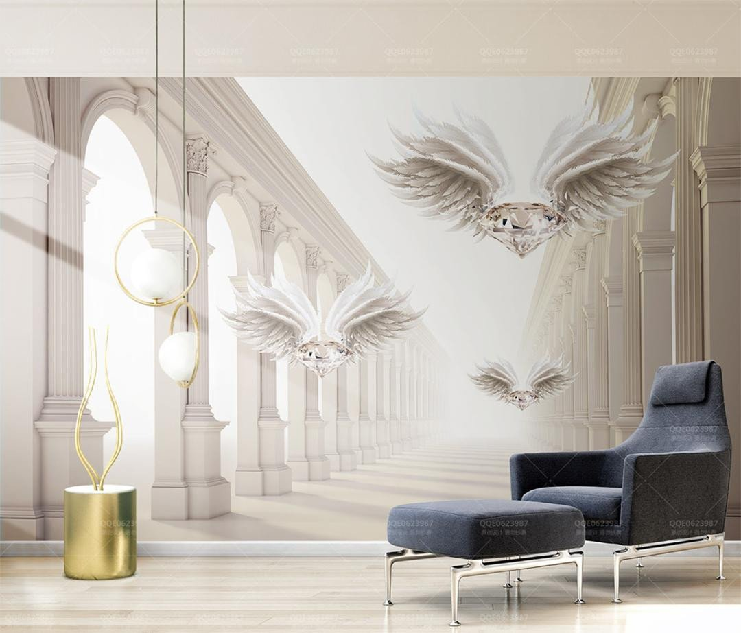 Wallpaper Borders for Bedroom Elegant Retail 3d Stereo Abstract Space Roman Column Diamond Wings Tv Background Wall Dream Magic European Roman Column Flying Diamond Wallpaper Borders