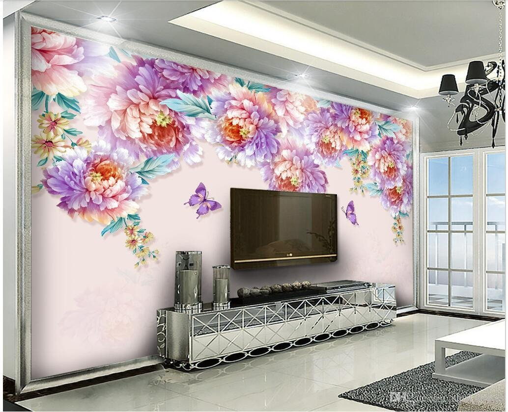Wallpapers for Girls Bedroom Elegant 3d Room Wallpaper Cloth Custom Modern Minimalist Blossom Peony Flower Background Wall 3d Wall Murals Wallpaper for Walls 3 D Free Widescreen