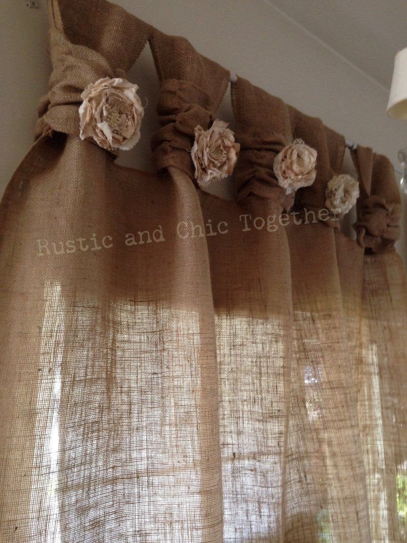 Western Curtains for Bedroom Beautiful Burlap Curtains Tea Dyed Rosettes Wide Tabs In 2019