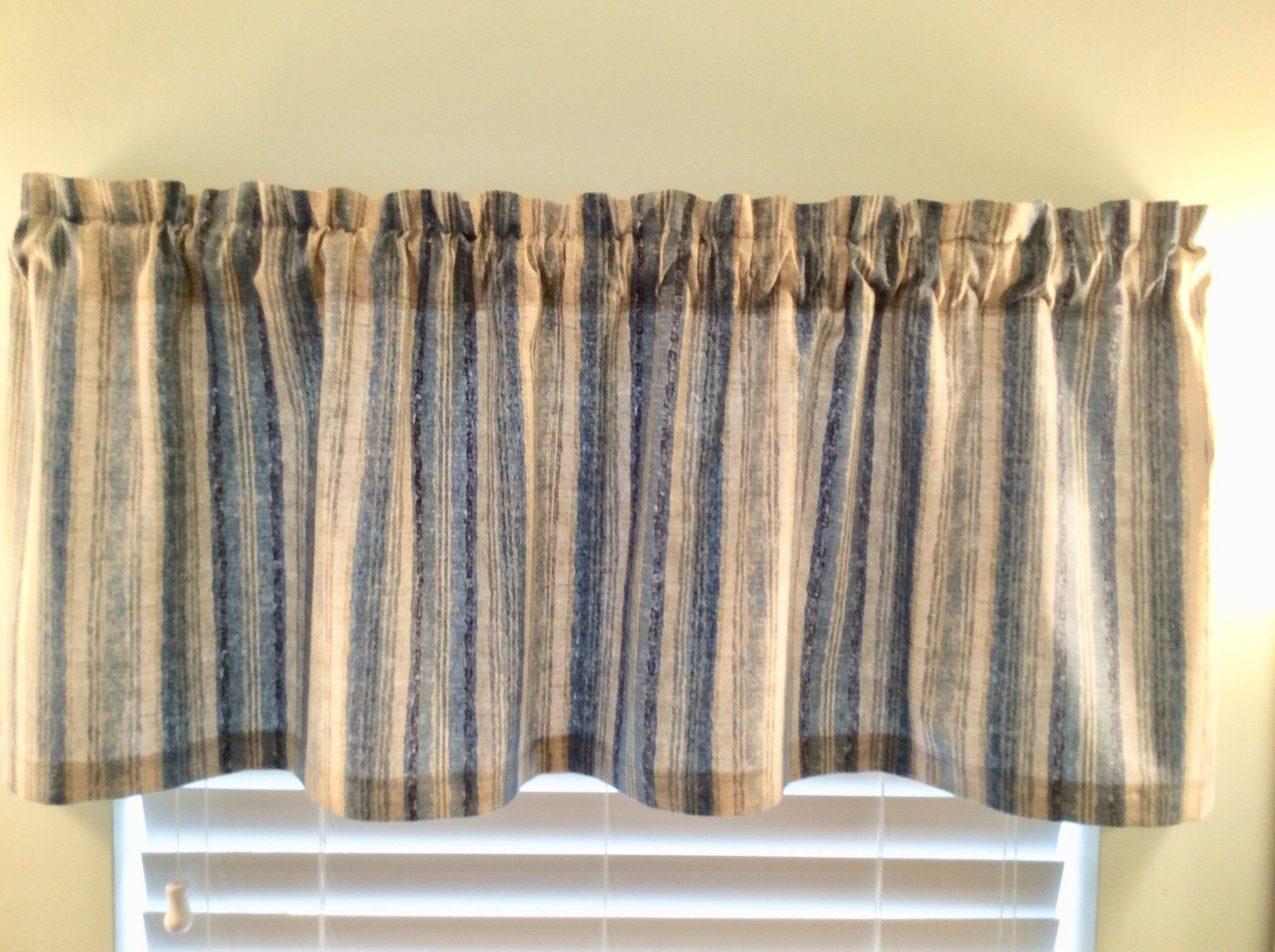 Western Curtains for Bedroom Elegant Blue and Gray Stripe Window Valance