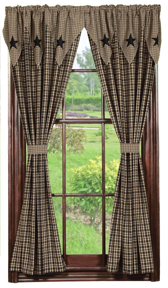 Western Curtains for Bedroom Elegant Vintage Star Black Lined Panel Curtains 84""