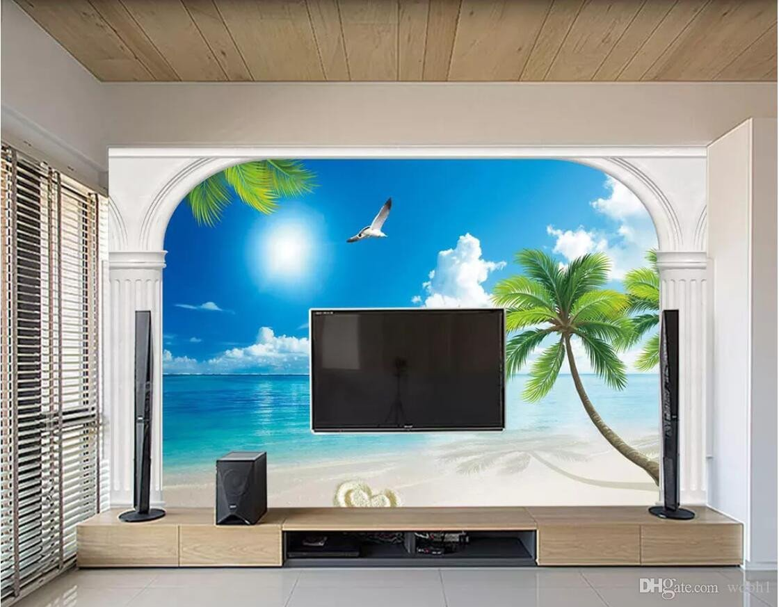 What Size Tv for Bedroom Unique 3d Room Wallpaper Custom Non Woven Mural Mediterranean Landscape Seaside Scenery Tv Background Wall Mural Wallpaper for Walls 3 D Free