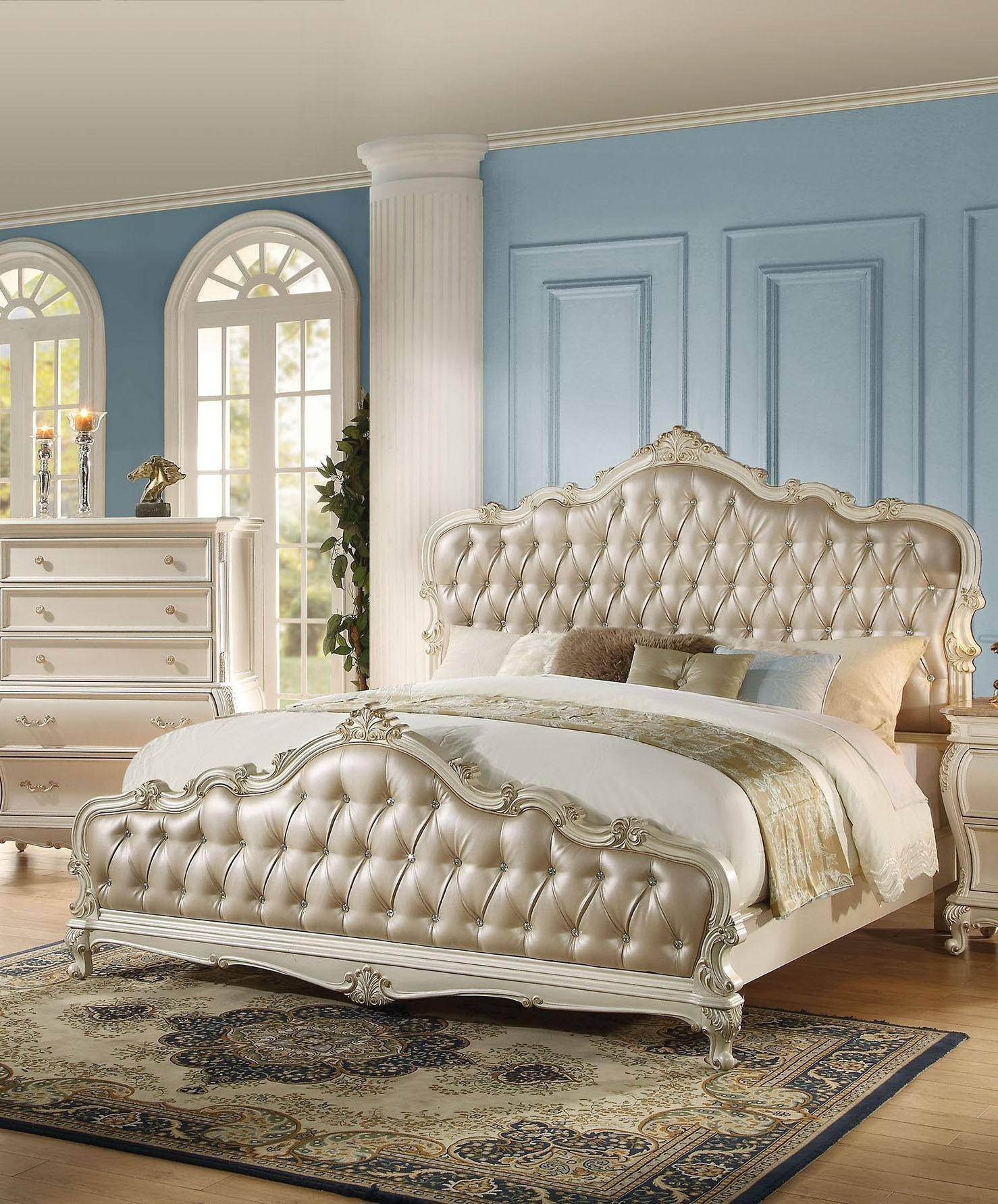 White and Gold Bedroom Set Fresh Rose Gold Pearl White Queen Bed Chantelle Q Acme Classic
