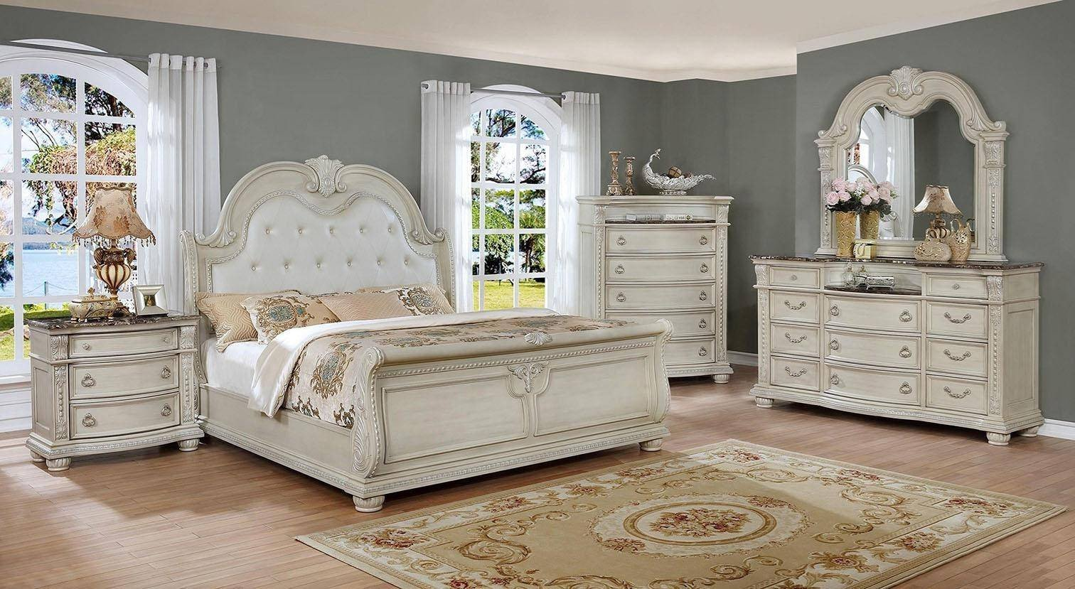 White and Gold Bedroom Set Lovely Crown Mark B1630 Stanley Antique White solid Wood Queen