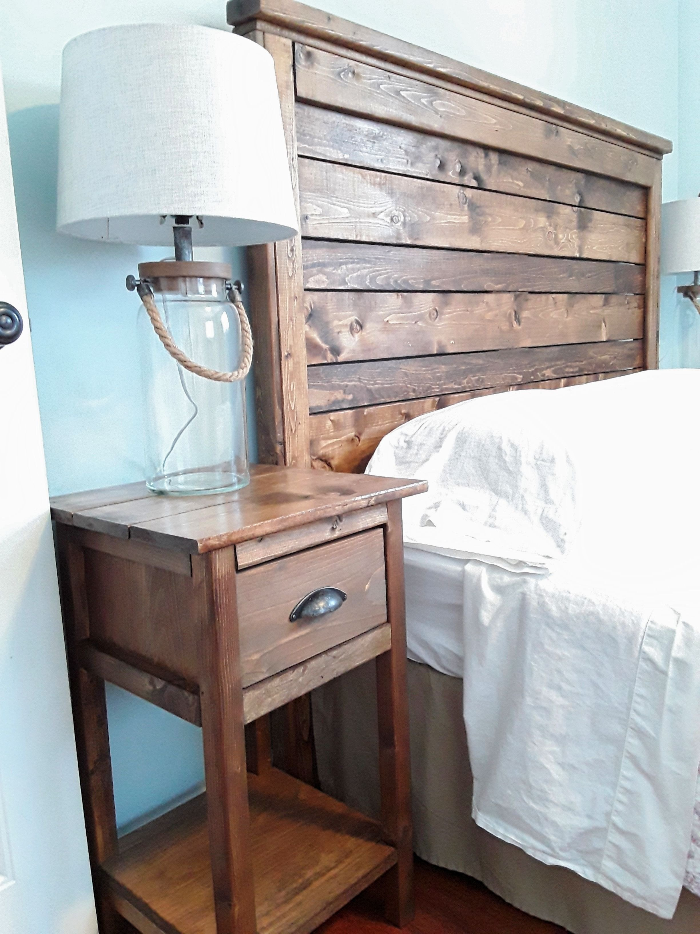 White Bedroom End Tables Awesome Diy Rustic Wood Headboard and Nightstand